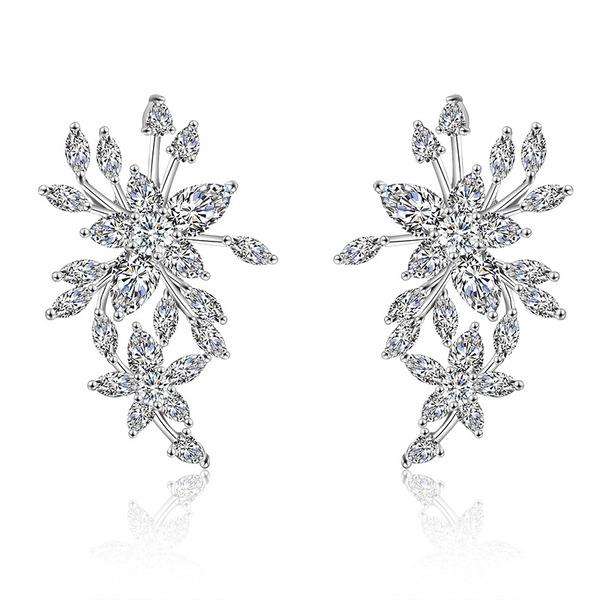 Ladies' Feather Design Copper/Cubic Zirconia Cubic Zirconia Earrings For Bride