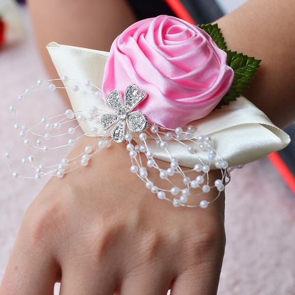 Lovely Satin/Rhinestone/Imitation Pearl Wrist Corsage