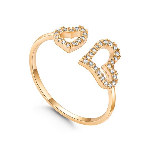Heart Shaped Zircon Copper With Zircon Women's Fashion Rings (Sold in a single piece)