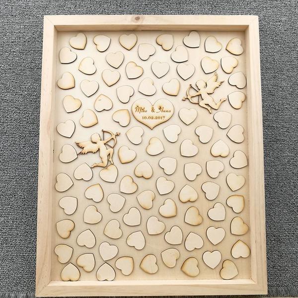 Herz fallen lassen Holz Gästebuch