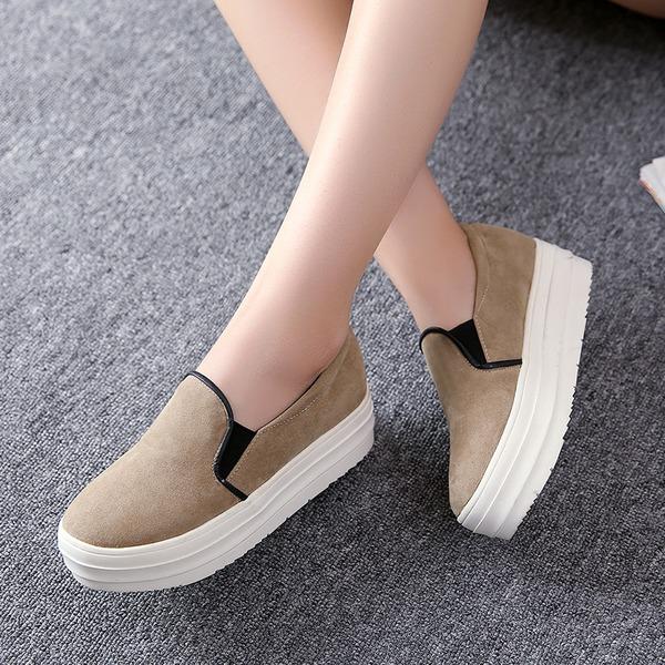Mulheres Camurça Plataforma Fechados Calços com Divisão separada sapatos