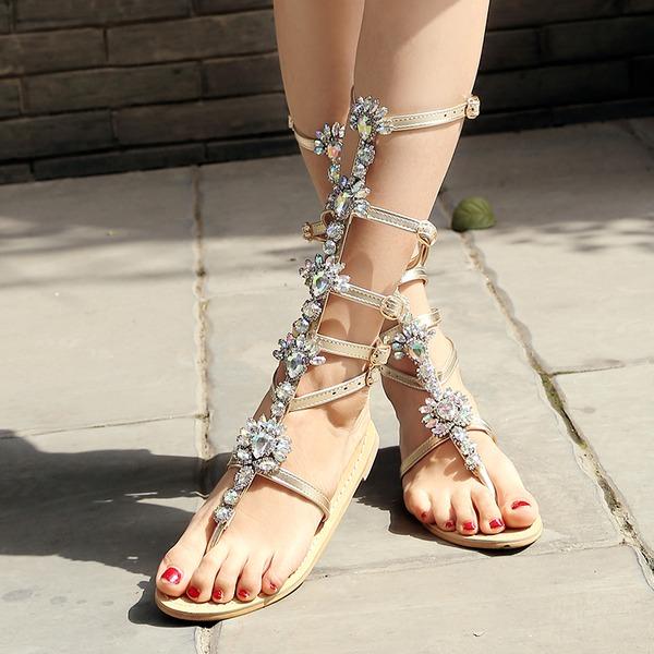 Vrouwen Kunstleer Flat Heel Sandalen Flats Peep Toe Slingbacks met Strass Gesp Hol-out schoenen