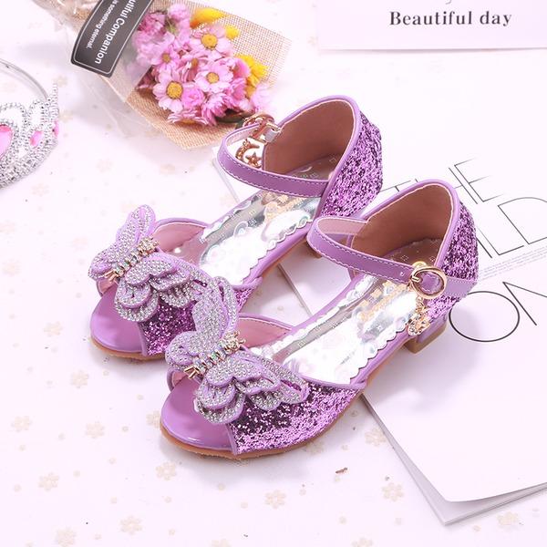 Fille de bout rond À bout ouvert similicuir Chaussures de fille de fleur avec Bowknot
