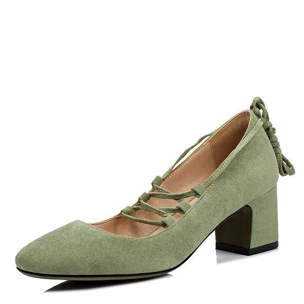Женщины Замша Устойчивый каблук Закрытый мыс с Шнуровка обувь