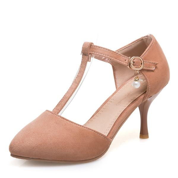 Femmes Suède Talon stiletto Sandales Escarpins Bout fermé avec Boucle chaussures