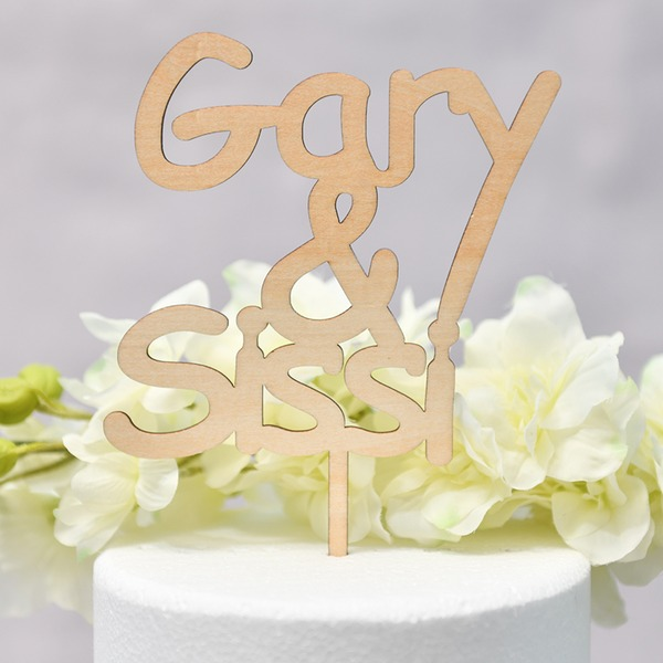 Personalized Classic Couple/You & Me Wood Cake Topper (Sold in a single piece)