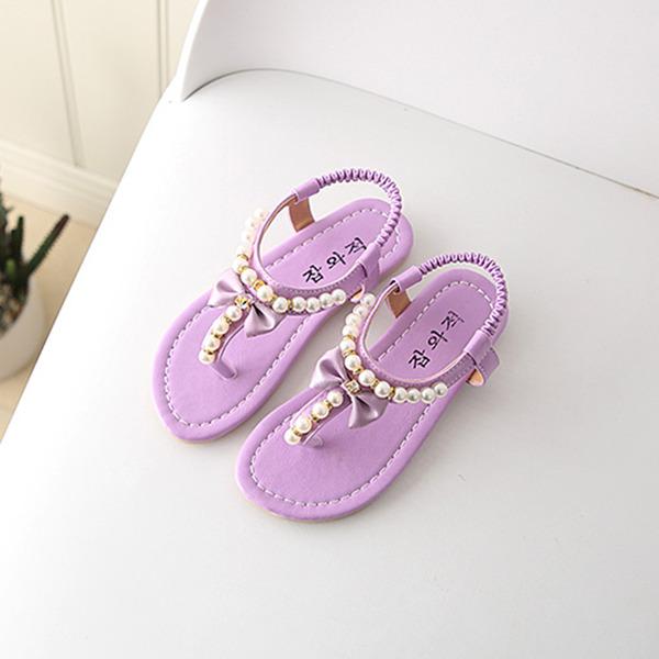 Fille de À bout ouvert talon plat Sandales Chaussures plates avec Perle d'imitation Velcro
