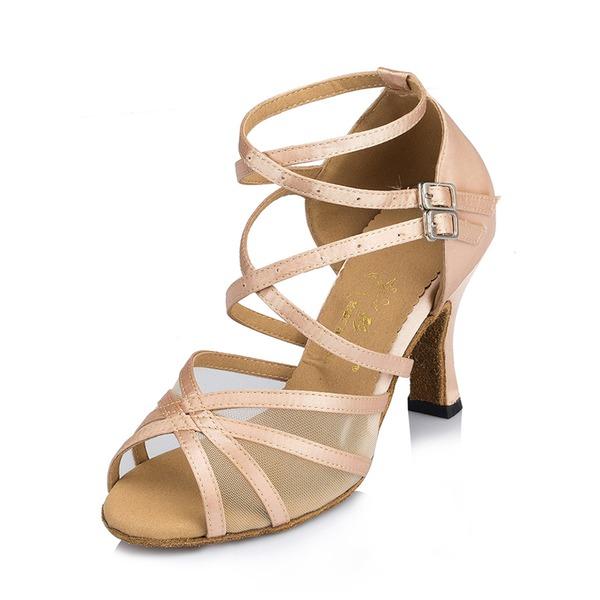 Kvinder Satin Hæle sandaler Latin med Udhul Dansesko