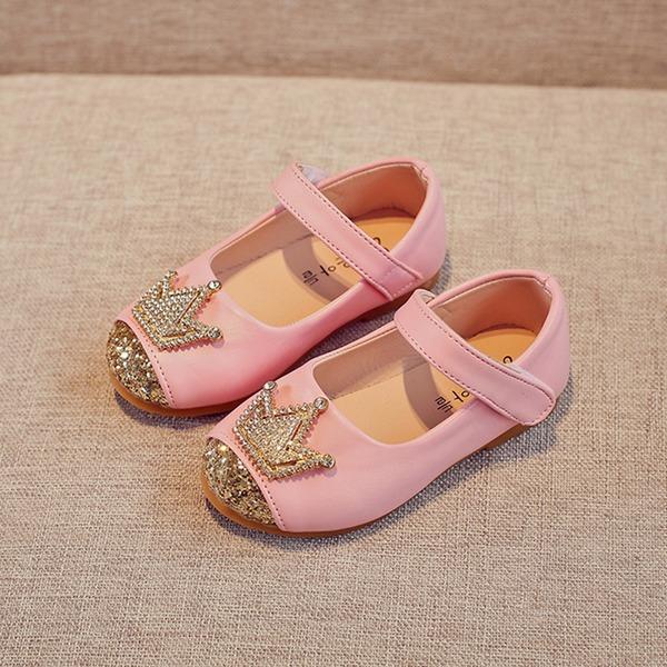 Muchacha Punta Cerrada Kunstleder Talón plano Planos Zapatos de niña de las flores con Rhinestone Velcro