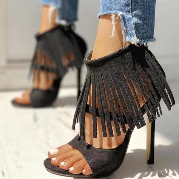 Mulheres PU Salto agulha Bombas Peep toe com Franja sapatos