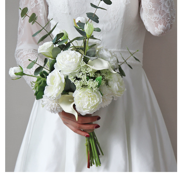 Pure Free-Form Silk Flower Bridal Bouquets -