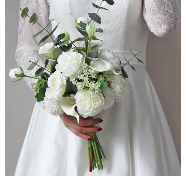 Изящные Свободной формы шелковые цветы Свадебные букеты -