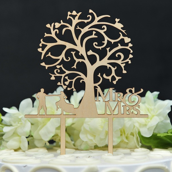 Estilo clásico/Mr & Mrs Madera Decoración de tortas