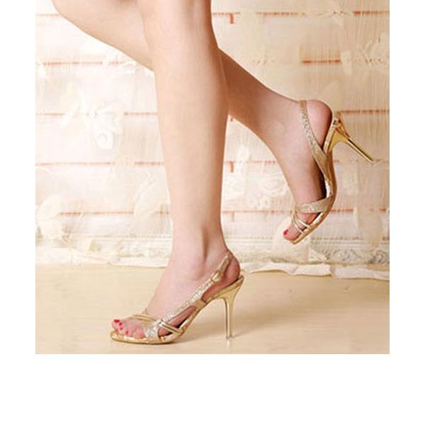 Femmes Pailletes scintillantes Talon stiletto Sandales À bout ouvert Escarpins avec Fleur en satin Ouvertes chaussures