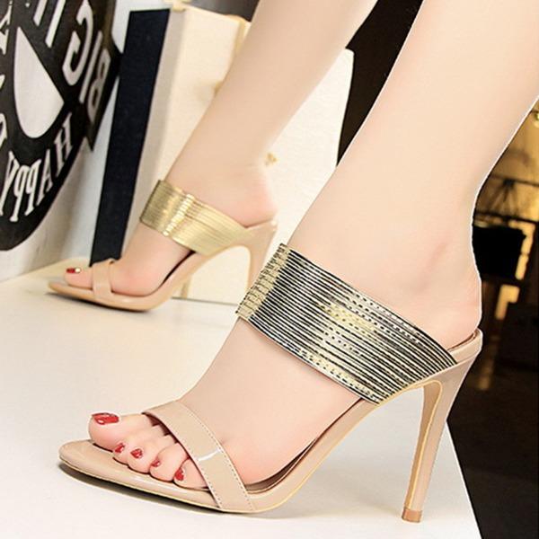 Mulheres Couro Brilhante Salto agulha Sandálias Bombas Peep toe com Outros sapatos