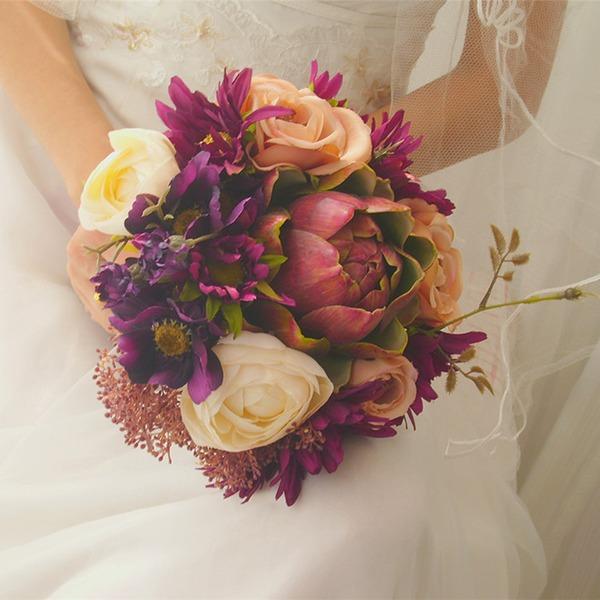 Simple And Elegant Free-Form Emulational Succulent Plant Bridal Bouquets -