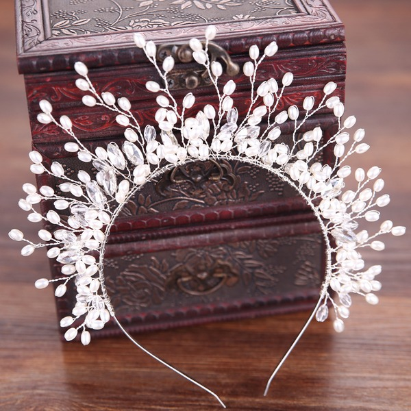Ladies Fashion Alloy/Imitation Pearls Headbands With Venetian Pearl (Sold in single piece)
