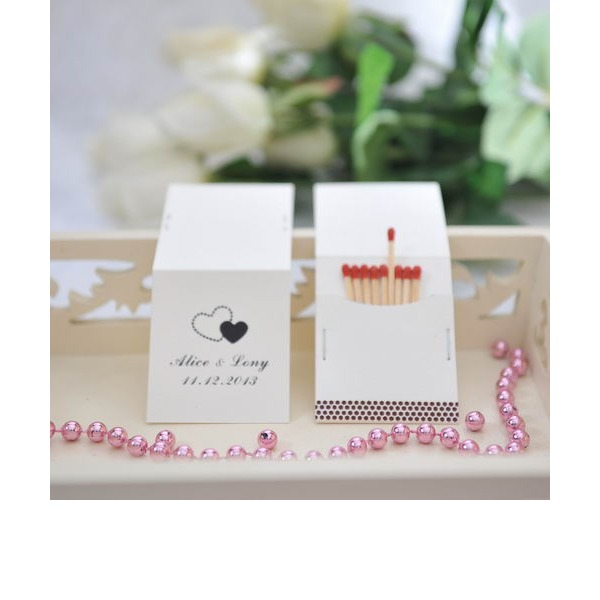 Personalized Double Hearts Hard Card Paper Matchboxes (Set of 50)