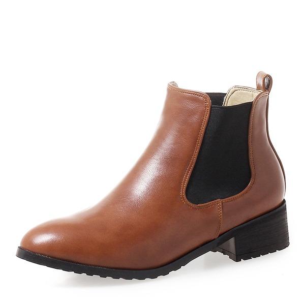 Donna Similpelle Tacco basso Stivali Stivali alla caviglia con Fascia di gomma scarpe