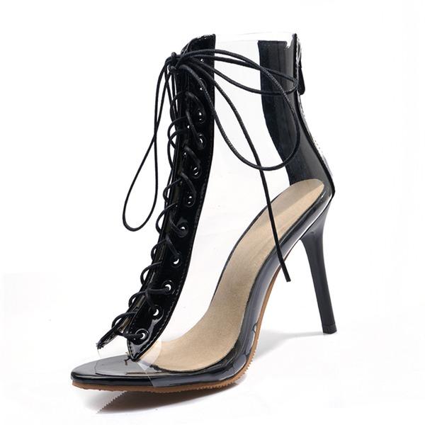 Женщины кожа PVC Высокий тонкий каблук Сандалии На каблуках Открытый мыс с Шнуровка обувь