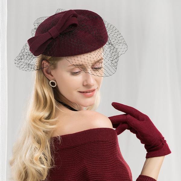 Ladies ' Efterspurgte/Glamourøse/Elegant/Forbløffende/Fancy/High Quality Uld med Tyl Baret Hat