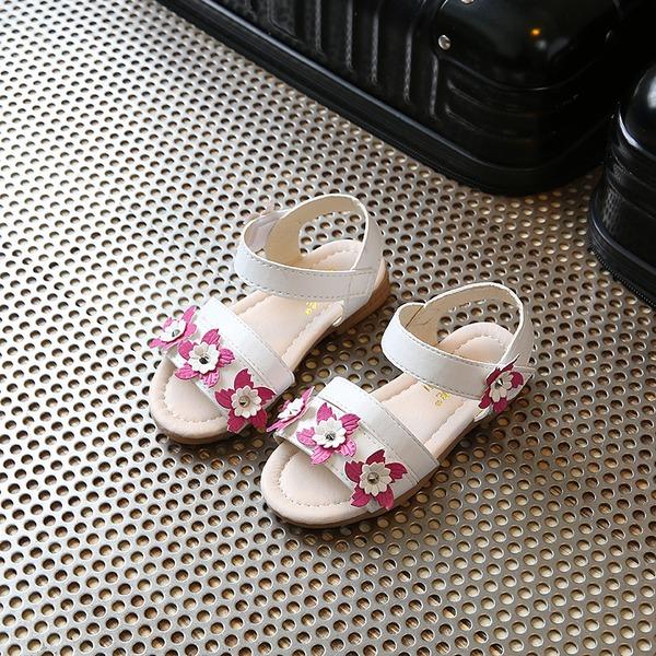 A menina de Peep toe imitação de couro Heel plana Sandálias Sem salto Sapatas do florista com Velcro Flor