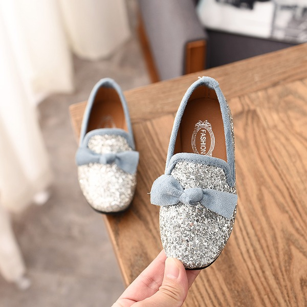 Girl's Round Toe Closed Toe Leatherette Flat Heel Flats With Bowknot Sparkling Glitter