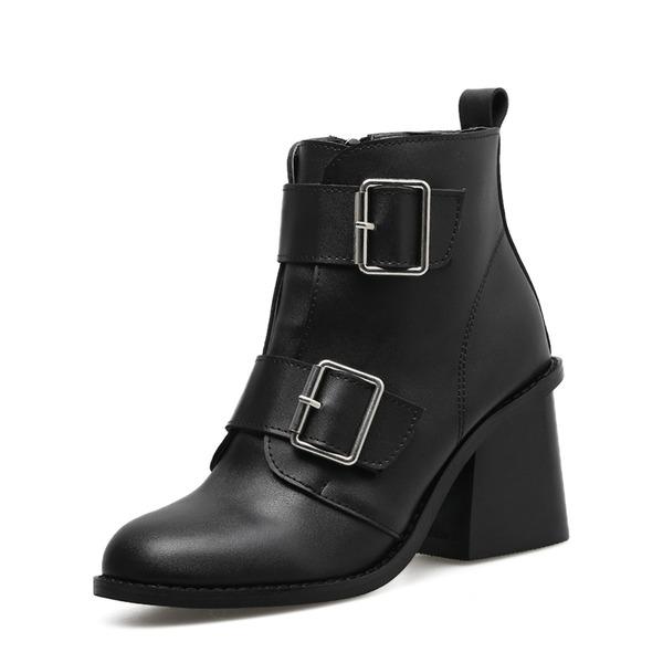 Kvinnor PU Tjockt Häl Stövlar Boots med Spänne Zipper skor