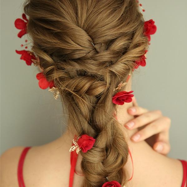 Filles Magnifique Fleur en soie épingles à cheveux/Bandeaux avec Cristal (Lot de 4)