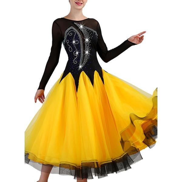 Женщины Одежда для танцев Спандекс Органза Современные танцы Представления Платья
