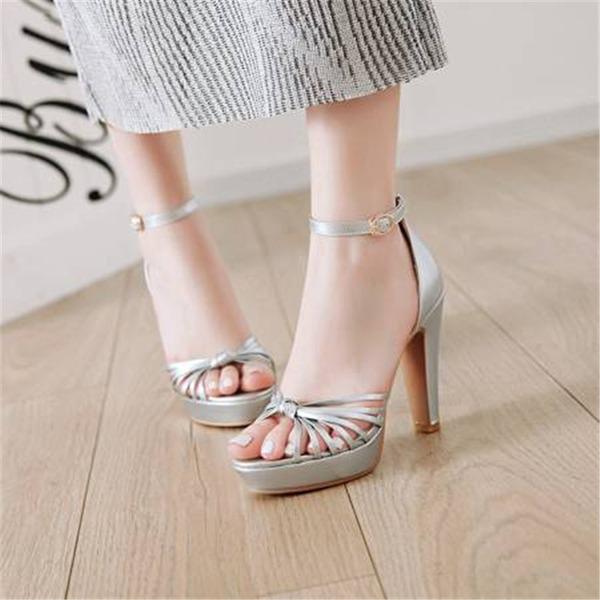 Vrouwen PU Chunky Heel Sandalen Pumps Plateau Peep Toe met Gesp schoenen