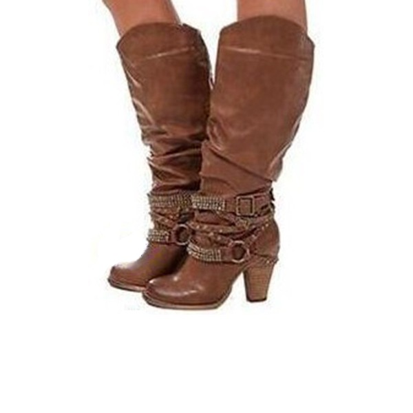 Naisten Keinonahasta Chunky heel Avokkaat Kengät jossa Rypytys kengät