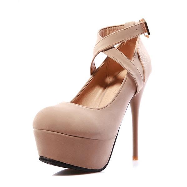 Kvinder Ruskind Stiletto Hæl Pumps Platform med Spænde sko