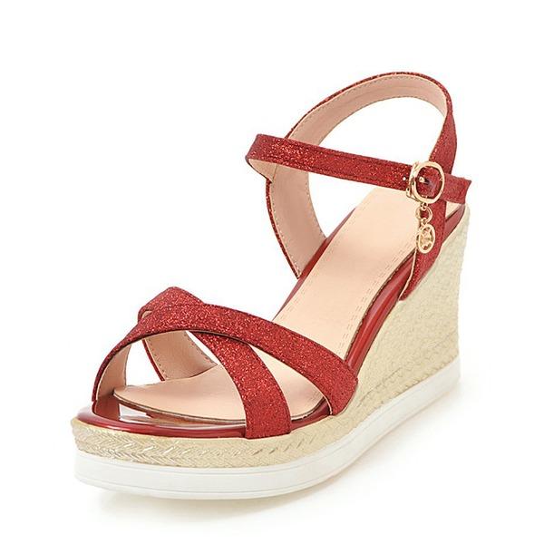 Kvinder Mousserende Glitter Kile Hæl sandaler Kiler Kigge Tå Slingbacks med Spænde sko