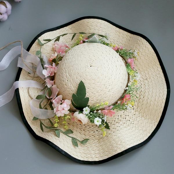 женские Специальный/Гламурный/Элегантные/простой/Привлекательным/Необычные Плетеная соломы с Цветок соломенная шляпа/Пляжные / солнцезащитные шлемы