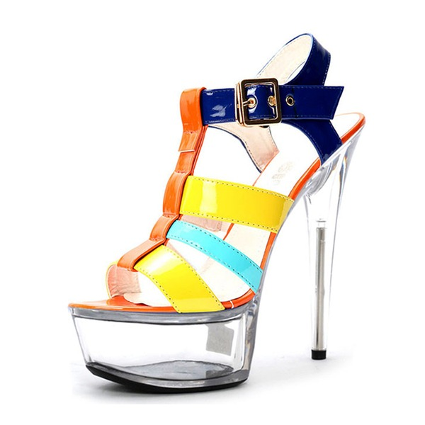 Kvinder Patenteret Læder Stiletto Hæl sandaler Pumps Platform Kigge Tå Slingbacks med Spænde sko