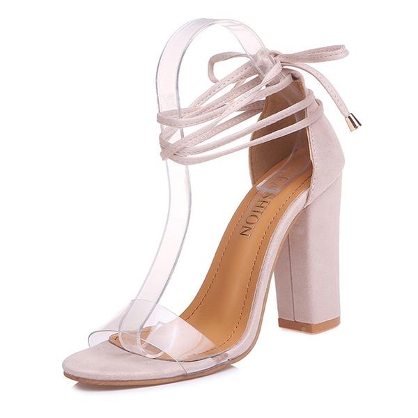 Frauen Kunstleder Stämmiger Absatz Sandalen Absatzschuhe mit Zuschnüren Schuhe