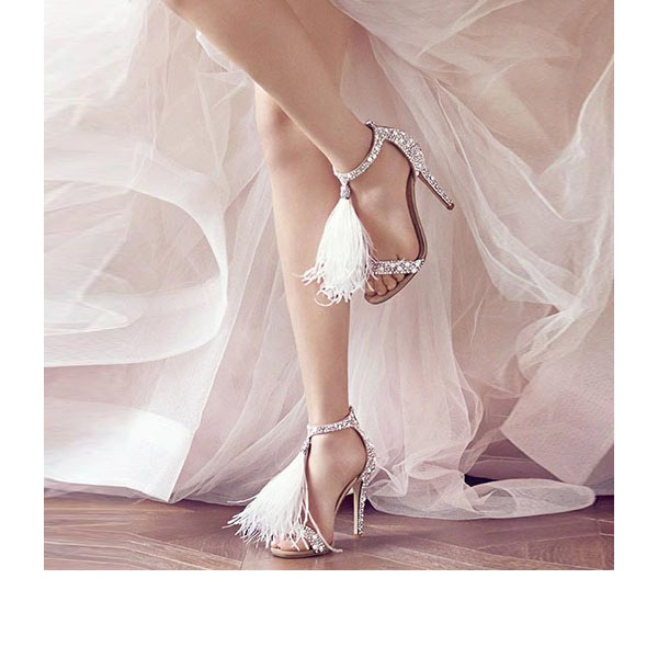 Women's Suede Stiletto Heel Pumps Sandals With Tassel