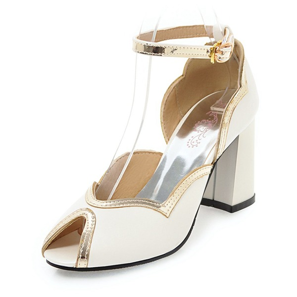 Women's Patent Leather Chunky Heel Sandals Pumps With Buckle shoes