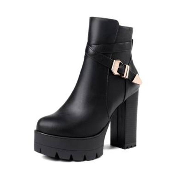 Vrouwen Kunstleer Chunky Heel Pumps Plateau Laarzen Enkel Laarzen met Gesp schoenen