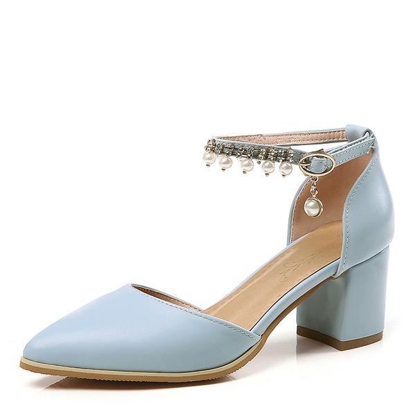 Mulheres Couro Salto robusto Bombas Fechados Mary Jane com Pérola Imitação Fivela Corrente sapatos