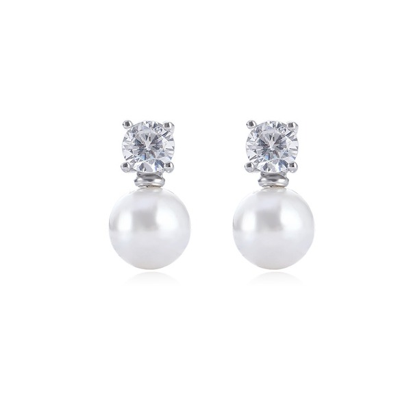 Stylish Alloy Rhinestones Imitation Pearls With Imitation Pearl Rhinestone Women's Fashion Earrings (Sold in a single piece)
