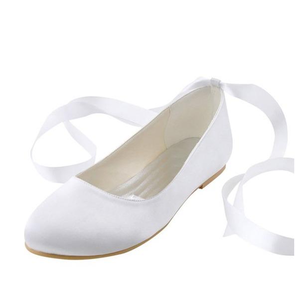 Women's Silk Like Satin Flat Heel Flats With Ribbon Tie