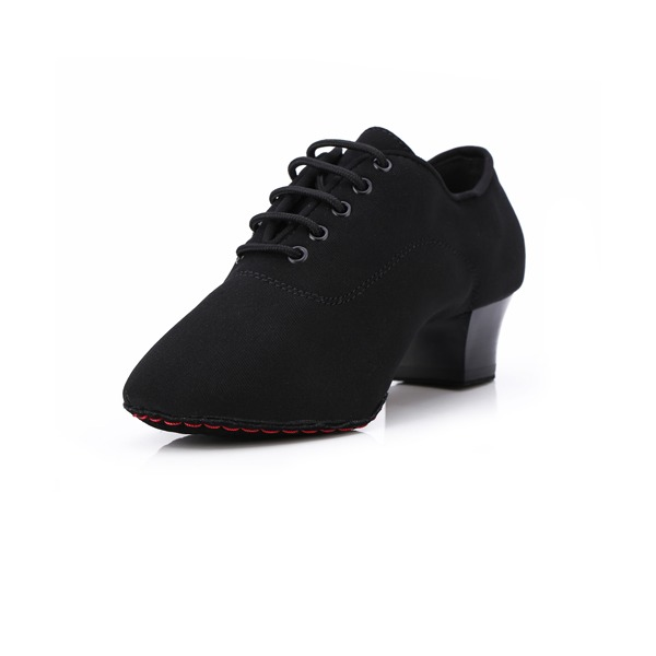 Women's Canvas Heels Pumps Practice With Lace-up Dance Shoes