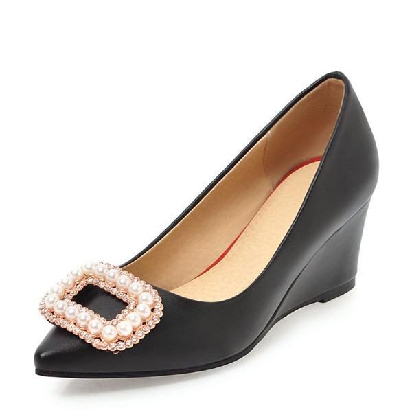 Frauen PVC Keil Absatz Keile mit Strass Nachahmungen von Perlen Schuhe