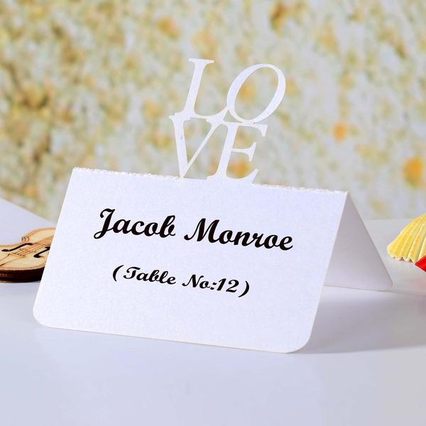 Liebe-Entwurf Perlen-Papier Tischkarten (Satz von 12)