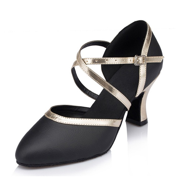 Women's Real Leather Heels Sandals Ballroom Dance Shoes