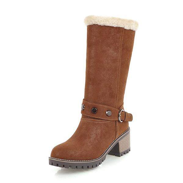 Mulheres Couro Salto robusto Botas Botas na panturrilha Botas de neve com Rivet Fivela sapatos