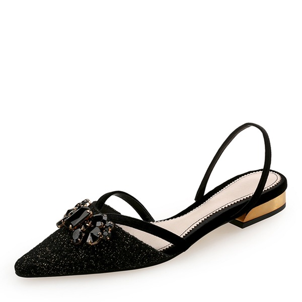 Frauen Stoff Niederiger Absatz Geschlossene Zehe Slingpumps mit Strass Schuhe