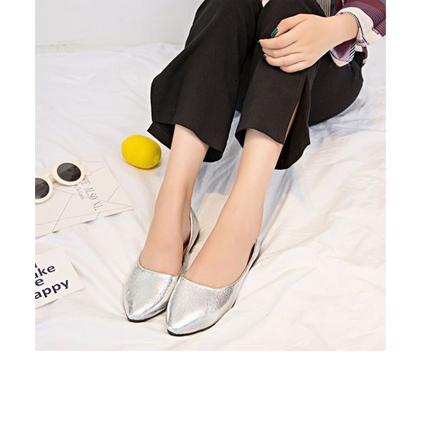 Women's PU Flat Heel Flats Closed Toe With Others shoes